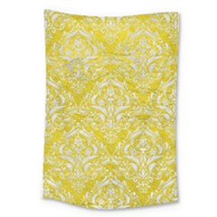 Damask1 White Marble & Yellow Leather Large Tapestry by trendistuff