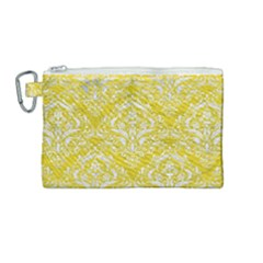 Damask1 White Marble & Yellow Leather Canvas Cosmetic Bag (medium) by trendistuff