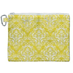 Damask1 White Marble & Yellow Leather Canvas Cosmetic Bag (xxl)