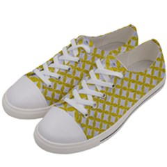 Circles3 White Marble & Yellow Leather (r) Women s Low Top Canvas Sneakers by trendistuff