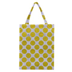 Circles2 White Marble & Yellow Leather (r) Classic Tote Bag by trendistuff