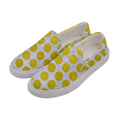 Circles1 White Marble & Yellow Leather (r) Women s Canvas Slip Ons by trendistuff