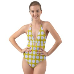 Circles1 White Marble & Yellow Leather Halter Cut Out One Piece Swimsuit