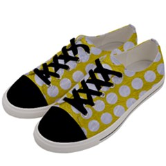 Circles1 White Marble & Yellow Leather Men s Low Top Canvas Sneakers by trendistuff