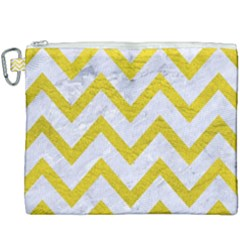 Chevron9 White Marble & Yellow Leather (r) Canvas Cosmetic Bag (xxxl) by trendistuff