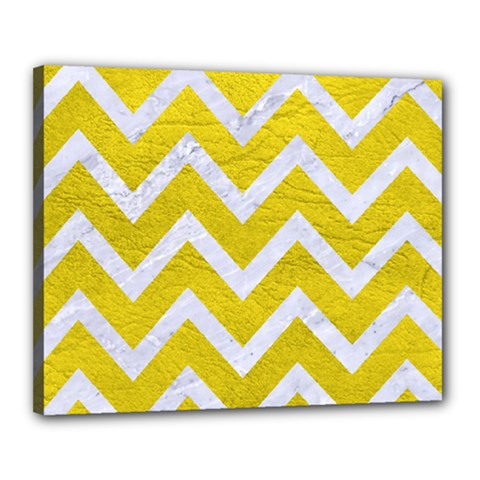 Chevron9 White Marble & Yellow Leather Canvas 20  X 16  by trendistuff