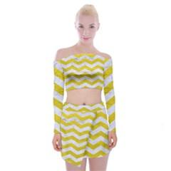 Chevron3 White Marble & Yellow Leather Off Shoulder Top With Mini Skirt Set by trendistuff