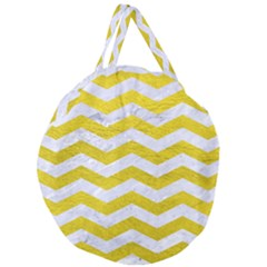Chevron3 White Marble & Yellow Leather Giant Round Zipper Tote by trendistuff
