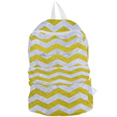 Chevron3 White Marble & Yellow Leather Foldable Lightweight Backpack