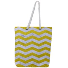Chevron3 White Marble & Yellow Leather Full Print Rope Handle Tote (large)