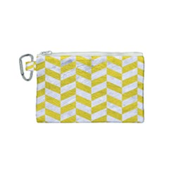 Chevron1 White Marble & Yellow Leather Canvas Cosmetic Bag (small) by trendistuff
