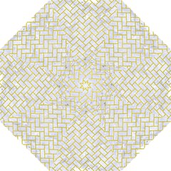 Brick2 White Marble & Yellow Leather (r) Folding Umbrellas by trendistuff