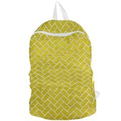 Brick2 White Marble & Yellow Leather Foldable Lightweight Backpack