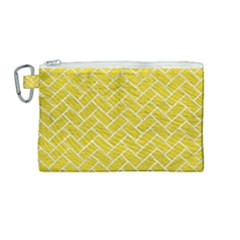 Brick2 White Marble & Yellow Leather Canvas Cosmetic Bag (medium) by trendistuff