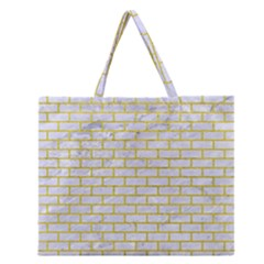 Brick1 White Marble & Yellow Leather (r) Zipper Large Tote Bag by trendistuff