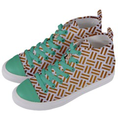 Woven2 White Marble & Yellow Grunge (r) Women s Mid Top Canvas Sneakers by trendistuff