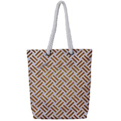 Woven2 White Marble & Yellow Grunge (r) Full Print Rope Handle Tote (small) by trendistuff