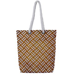 Woven2 White Marble & Yellow Grunge Full Print Rope Handle Tote (small) by trendistuff