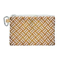 Woven2 White Marble & Yellow Grunge Canvas Cosmetic Bag (large) by trendistuff