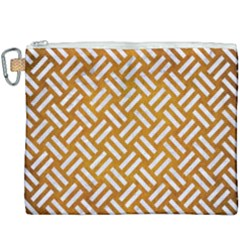 Woven2 White Marble & Yellow Grunge Canvas Cosmetic Bag (xxxl) by trendistuff