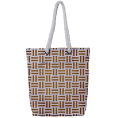 Woven1 White Marble & Yellow Grunge (r) Full Print Rope Handle Tote (small) by trendistuff