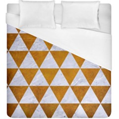 Triangle3 White Marble & Yellow Grunge Duvet Cover (king Size) by trendistuff