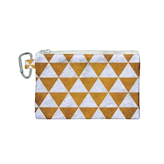 Triangle3 White Marble & Yellow Grunge Canvas Cosmetic Bag (small) by trendistuff