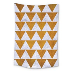 Triangle2 White Marble & Yellow Grunge Large Tapestry