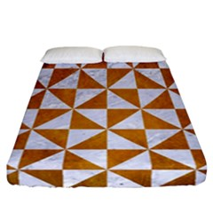 Triangle1 White Marble & Yellow Grunge Fitted Sheet (california King Size) by trendistuff