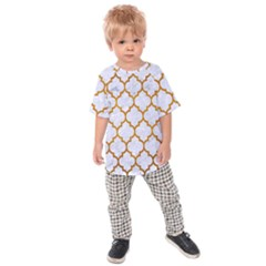 Tile1 White Marble & Yellow Grunge (r) Kids Raglan Tee