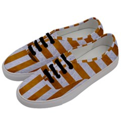 Stripes1 White Marble & Yellow Grunge Men s Classic Low Top Sneakers by trendistuff
