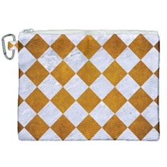 Square2 White Marble & Yellow Grunge Canvas Cosmetic Bag (xxl) by trendistuff