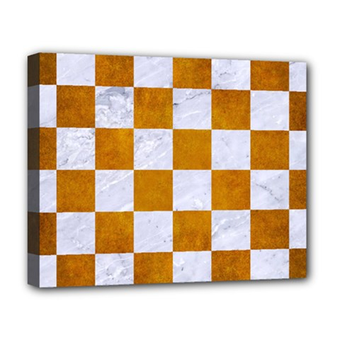 Square1 White Marble & Yellow Grunge Deluxe Canvas 20  X 16   by trendistuff