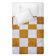 Square1 White Marble & Yellow Grunge Duvet Cover Double Side (single Size) by trendistuff