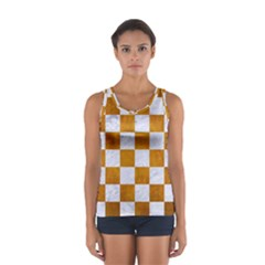 Square1 White Marble & Yellow Grunge Sport Tank Top