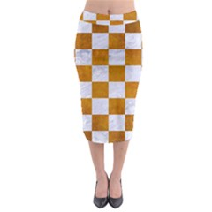 Square1 White Marble & Yellow Grunge Midi Pencil Skirt by trendistuff