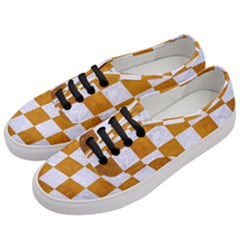 Square1 White Marble & Yellow Grunge Women s Classic Low Top Sneakers by trendistuff