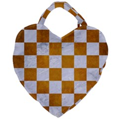 Square1 White Marble & Yellow Grunge Giant Heart Shaped Tote by trendistuff