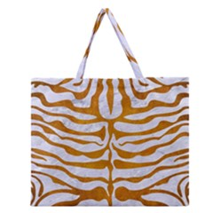 Skin2 White Marble & Yellow Grunge (r) Zipper Large Tote Bag by trendistuff