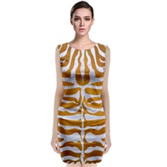 Skin2 White Marble & Yellow Grunge Classic Sleeveless Midi Dress