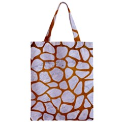 Skin1 White Marble & Yellow Grunge Zipper Classic Tote Bag by trendistuff