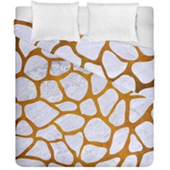 Skin1 White Marble & Yellow Grunge Duvet Cover Double Side (california King Size) by trendistuff