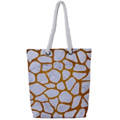 Skin1 White Marble & Yellow Grunge Full Print Rope Handle Tote (small) by trendistuff