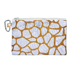 Skin1 White Marble & Yellow Grunge Canvas Cosmetic Bag (large) by trendistuff