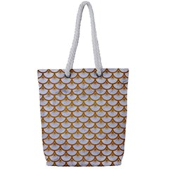 Scales3 White Marble & Yellow Grunge (r) Full Print Rope Handle Tote (small) by trendistuff