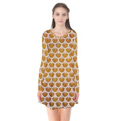 Scales3 White Marble & Yellow Grunge Flare Dress