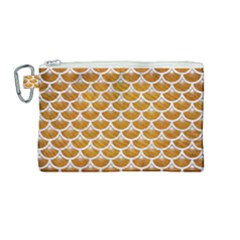 Scales3 White Marble & Yellow Grunge Canvas Cosmetic Bag (medium)