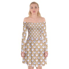 Scales2 White Marble & Yellow Grunge (r) Off Shoulder Skater Dress
