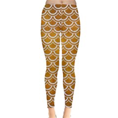 SCALES2 WHITE MARBLE & YELLOW GRUNGE Leggings