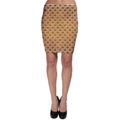 SCALES2 WHITE MARBLE & YELLOW GRUNGE Bodycon Skirt